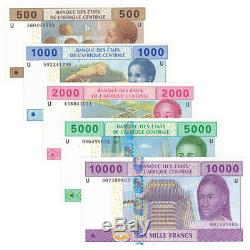 Central African Cameroon 5 PCS Banknotes 500-10000 Frances Real Currency UNC