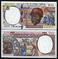 Central African States Cameroun 5000 France P204e 1999 Ship Unc Currency Money
