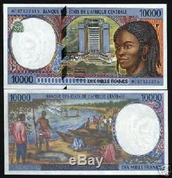 Central African States Chad 10000 Francs P605p 2000 Ship Unc Money Currency Note