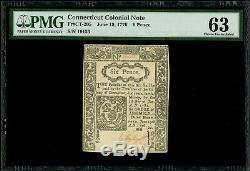 Colonial Currency, Connecticut, 6 Pence, 19-6-1776, PMG Choice UNC 63, CT-205