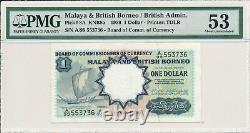 Currency Board Malaya & British Borneo $1 1959 S/No 553x3x PMG Unc 53