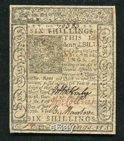 DE-78 JANUARY 1, 1776 6s SIX SHILLINGS DELAWARE COLONIAL CURRENCY ABOUT UNC