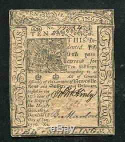 DE-79 JANUARY 1, 1776 10s TEN SHILLINGS DELAWARE COLONIAL CURRENCY UNC