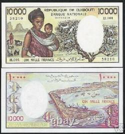 DJIBOUTI 10000 10,000 FRANCS P-39 a 1984 SHIP TRESORIER SIGN UNC RARE CURRENCY