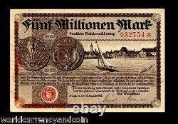 Danzig Poland 5000000 Marks P30 1923 Unc Germany Millions Rare Currency Billnote