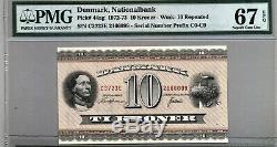 Denmark 10 Kroner paper currency banknote money 1972 P 44ag GEM UNC PMG 67 EPQ