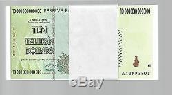 Error On Bundle, 10 Trillion Zimbabwe Dollar Money Currency. Unc 50 20 100