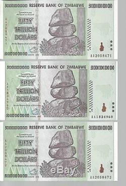 Error On Bundle, 50 Trillion Zimbabwe Dollar Money Currency. Unc 10 20 100