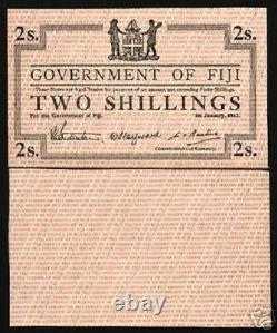 FIJI 2 SHILLINGS P42 1942 WithO SERIAL NUMBER UNC RARE COLONY CURRENCY MONEY NOTE
