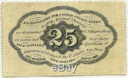 FRACTIONAL 25c POSTAGE CURRENCY PERFORATED NO MONO FR 1280 CHOICE UNC