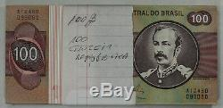 Foreign Paper Bank Note Money Currency Brazil 100 Cruzeiros 100 Note Pack Unc