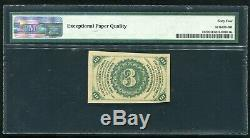 Fr. 1227 3 Three Cents Third Issue Fractional Currency Note Pmg Unc-64epq
