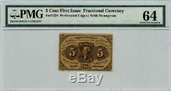 Fr. 1228 Five Cent 5c 1st Issue Fractional Currency Ch Unc64 PMG 929126-1