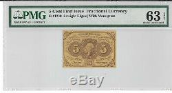 Fr 1230 5 Cents First Issue Fractional Currency Pmg 63 Epq Ch Unc Free Shipping