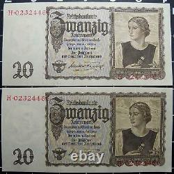 Germany-20 Reichsmark banknotes-UNC/running #s-1939-German swastika-3rd reich