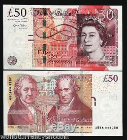 Great Britain 50 Pounds New 2010 Queen Machine Chris Salmon Unc Uk Currency Note