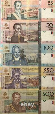 Haiti 25-500 Banknote Lot 5 Pcs 2004 UNC Currency Matching Serial # Full Set
