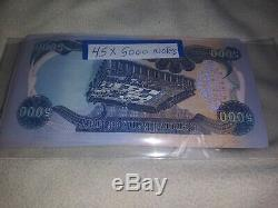 IRAQ 5000 X 45 notes 5,000 IRAQI DINAR UNC MONEY NOTE 45 total CURRENCY NOTES