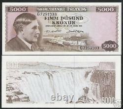 Iceland 5000 5,000 Kronur P47 1961 Dam Waterfalls Unc Currency Money Bank Note