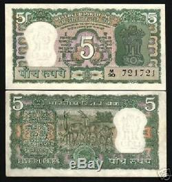 India 5 Rupees P55 1970 Bundle Antelope Tiger Unc Sj Currency Money 100 Banknote