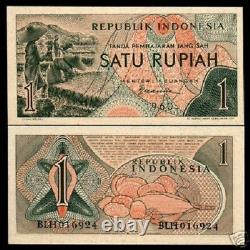 Indonesia 1 Rupiah P76 1960 Bundle Fruit Unc Currency Money Bill 100 Bank Notes