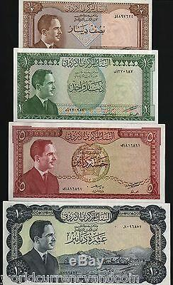 JORDAN 1/2 1 5 10 DINARS P13 14 15 16 1959 HUSSEIN UNC x 4 CURRENCY COMPLETE SET