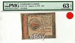 January 14, 1779 $45 Continental Currency PMG CHOICE UNC 63 EPQ Fr #CC-96