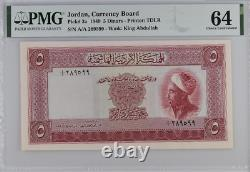 Jordan, Currency Board P-3a, 5 Dinar, PMG 64 EXTREMELY RARE