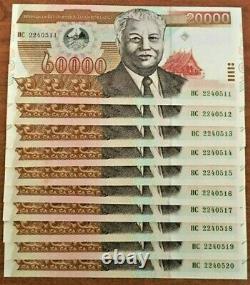 LAOS 20000 20,000 KIP P-36 2003 x 20 Pcs Lot UNC BUNDLE Lao Currency BANK NOTE
