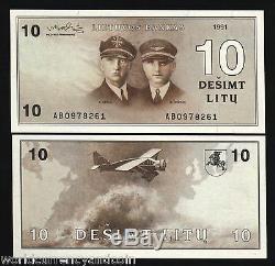 Lithuania 10 Litu P47a 1991 Euro Air Plane Pilot Horse Unc Currency Money Bill