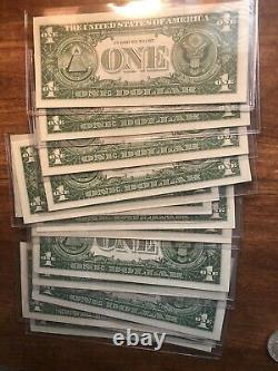 Lot Of 14 1957 One Dollar Note $1 Silver Certificate Blue Seal UNC Currency Lot