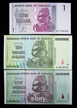 Lot of 3 Zimbabwe banknotes-1 dollar, 10&50 Trillion Dollars-UNC currency