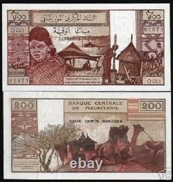 Mauritania 200 Ouguiya P-2 1973 Camel Bedouin Unc Rare Currency Money Bank Note