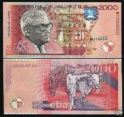 Mauritius 2000 2,000 Rupees P-55 1999 Ramgolam Ox Rare Date Unc Currency Note