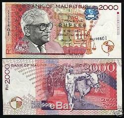 Mauritius 2000 Rupees P48 1998 Error Unc Ramgoolam Ox Currency Africa Bill Note