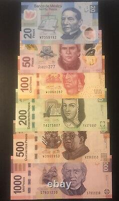 Mexico 20 1000 pesos 5 banknote set of 2013 2017 UNC Currency
