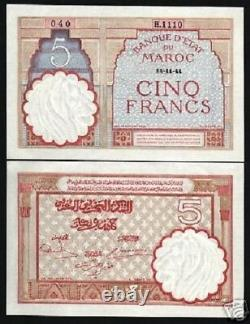 Morocco 5 Francs P-23 A 1941 Large Unc African Currency Money Moroccan Bank Note