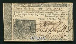 NJ-154 DECEMBER 31, 1763 3s THREE SHILLINGS NEW JERSEY COLONIAL CURRENCY UNC