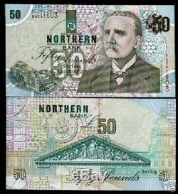Northern Ireland 50 Pounds P200 1999 Tea Dryer Unc Rare Irish Currency Bill Note