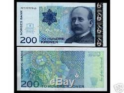 Norway 200 Kroner P50 2003 Map Of North Pole Unc Currency Money Bill Bank Note