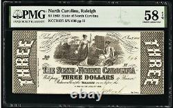 Obsolete Currency 1863 State Of North Carolina $3 PMG Choice About Unc 58 EPQ