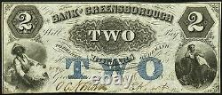 Obsolete Currency Greensborough, GA- Bank of Greensborough $2 May 18, 1858 Unc
