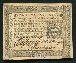 PA-187 OCTOBER 25, 1775 2s TWO SHILLINGS PENNSYLVANIA COLONIAL CURRENCY UNC