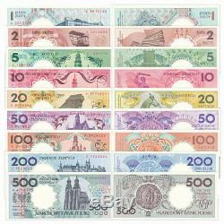 Poland 9 PCS Banknotes 1-500 Zlotych PLN Real Currency Original Album UNC 1990
