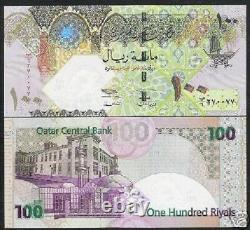 Qatar 100 Riyals P-24 2003 Boat Falcon Unc Arab Bill Gcc Currency Gulf Bank Note