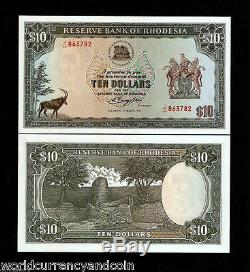 Rhodesia 10 Dollars P33 1976 Antelope Unc Animal Africa Currency Money Bank Note