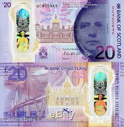 SCOTLAND 20 Pound Banknote World Paper Money Currency Polymer UNC Pick pNEW 2020