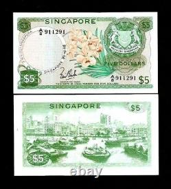 SINGAPORE 5 DOLLARS P-2 A 1967 BOAT ORCHID WithO SEAL RARE UNC CURRENCY MONEY NOTE
