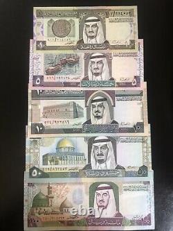 Saudi arabian 1 100 banknote set of 1983/1984 UNC Currency