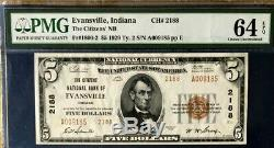 Series 1929 $5 Pmg64 Epq Choice Unc Nat Currency Citizens Nb Evansville Ty2